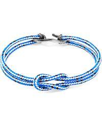 Anchor & Crew - Blue Noir Brighton Silver & Rope Bracelet - Lyst