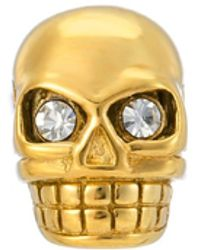 Northskull Legacy Skull Stud Earring With Clear Swarovski Crystals In Gold - Metallic