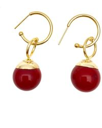 Farra Nugget Red Bamboo Coral Earrings - Multicolour