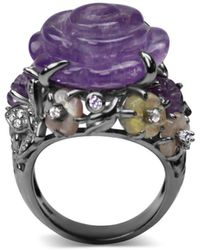 Bellus Domina Sterling Silver Amethyst Cocktail Ring - Multicolour