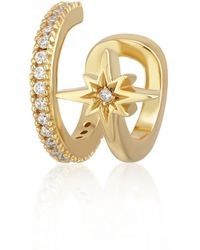 Scream Pretty Gold Star Double Band Small Single Ear Cuff - Metallic