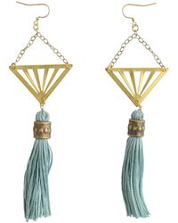Tiana Jewel Cote D'azur Geometric Tassel Earrings Turquoise & Gold - Metallic