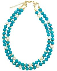 Farra Turquoise & Freshwater Pearls Double Strands Necklace - Blue
