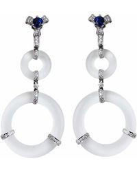 Ri Noor - Rock Crystal Blue Sapphire & Diamond Earrings - Lyst