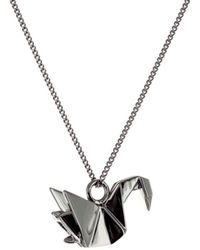 Origami Jewellery Mini Swan Necklace Gun Metal - Black
