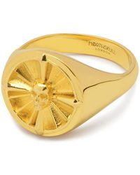 Northskull Atticus Skull Compass Pinky Ring In Gold - Metallic