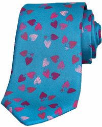 40 Colori - Teal Birch Printed Silk Tie - Lyst
