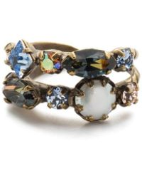 Sorrelli Oakly Stacked Ring- Antique Gold Finish - Metallic