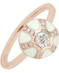 Artisan - 18k Rose Gold Genuine Diamond Enamel Ring Handmade Jewelry - Lyst