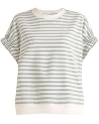 Paisie Striped Short Sleeve Sweatshirt In Light Green And White - Multicolour