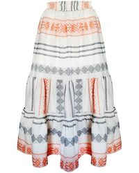 Haris Cotton Glauce Maxi Skirt - White