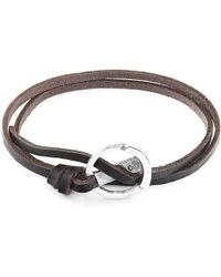 Anchor & Crew - Dark Brown Ketch Anchor Silver & Flat Leather Bracelet - Lyst