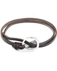 Anchor & Crew Dark Brown Ketch Anchor Silver & Flat Leather Bracelet - Metallic