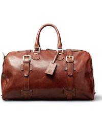 Maxwell Scott Bags Luxury Italian Leather Medium Travel Bag Flero M Chestnut Tan - Brown