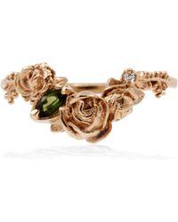 Lee Renee - Rose Smaller Chevron Ring Diamond & Tourmaline – Rose Gold - Lyst