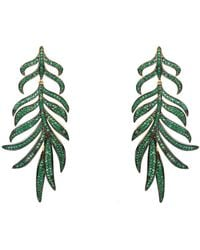 LÁTELITA London Feathered Leaf Statement Drop Earring Green Cz