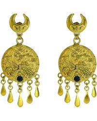 Annabelle Lucilla Jewellery Ocean Medallion Tassel Chandeliers - Green
