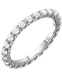 Cosanuova Sterling Silver Round Cz Eternity Band - Metallic