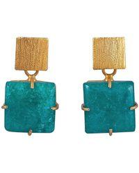 Magpie Rose Green Square Solar Quartz Earrings