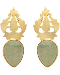 Carousel Jewels - Handcarved Gold & Chalcedony Earrings - Lyst
