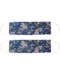 Rumour London Pack Of 2 Silk Face Masks With Integrated Filter In Liberty Fabric, Set 2 - Blue