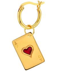 True Rocks Ace Of Hearts Charm 18kt Gold Plated & Red On Gold Hoop