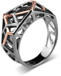 Bellus Domina Silver Rhodium Plated Crossover Ring - Black
