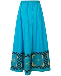 Haris Cotton Maxi Linen Ruffled Skirt With Embroidered Panels Tropical Sea - Blue