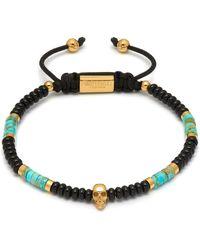Northskull Black Onyx / Turquoise & Gold Atticus Skull Macramé Bracelet - Metallic