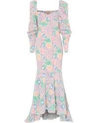 True Decadence Pastel Floral Lace Floor Length Gown - Multicolour