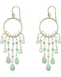 Coco & Kinney Amazonite & Moonstone Drop Catalina Earrings In Gold - Green