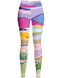 Jessie Zhao New York High Waist Yoga Leggings In Summer Afternoon - Multicolour