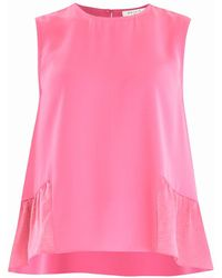 Paisie Flared Top With Satin Ruffle Panels In Pink