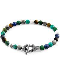 Anchor & Crew Multicoloured Multi-gem Mantaro Silver & Stone Bracelet - Multicolor