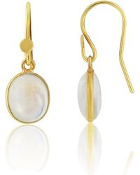 Auree - Pollara Gold Vermeil & Cabouchon Moonstone Earrings - Lyst