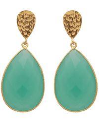 Carousel Jewels - Double Drop Aqua Chalcedony & Golden Nugget Earrings - Lyst