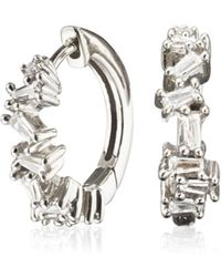 Lily & Roo - Small Silver Jagged Diamond Style Huggie Hoop Earrings - Lyst
