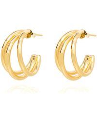 Coco Mango Jewellery Harlow Triple Gold Hoop Earrings - Metallic