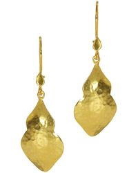 Ottoman Hands - Chrysalis Hand-hammered Gold Earrings - Lyst