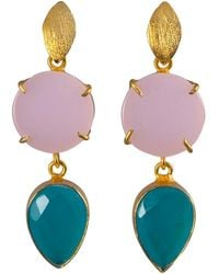 Magpie Rose Pink & Sky Blue Onyx Cocktail Earrings - Multicolor