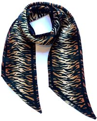 INGMARSON Tiger Silk Neck Scarf Burnt Orange - Brown