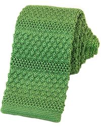 40 Colori Light Green Solid Textured Striped Silk Knitted Tie