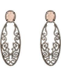 LÁTELITA London - Jasmine Rose Quartz Gemstone Earring Oxidised - Lyst