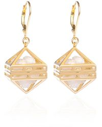 Sally Lane Jewellery - Beauty Within Gold Cage Earrings With White Drusy Crystal - Lyst