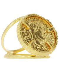Ottoman Hands Gold Coin Double Band Cocktail Ring - Metallic