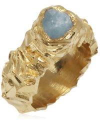Karolina Bik Jewellery Carved In The Rock Ring Gold With Rough Aquamarine - Metallic