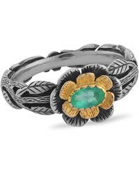 Emma Chapman Jewels Emerald Flower Ring - Green