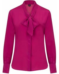 Sophie Cameron Davies Berry Pink Silk Bow Blouse