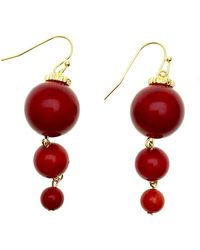 Farra Round Red Coral Earrings