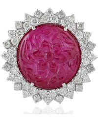 Artisan 18kt White Gold Natural Diamond Cocktail Ring Carving Ruby Flower - Pink